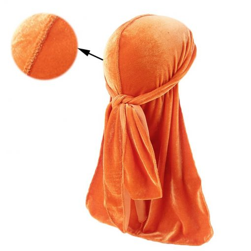 Durag Velours Orange Homme Femme Fille