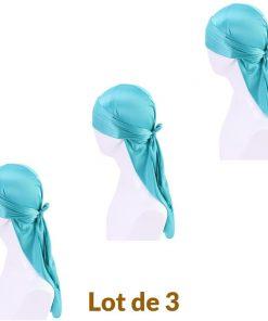 Lot de 3 Durag Homme Femme Fille Satin Bleu Vert