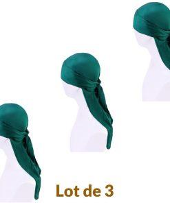 Lot de 3 Durag Homme Femme Fille Satin Vert
