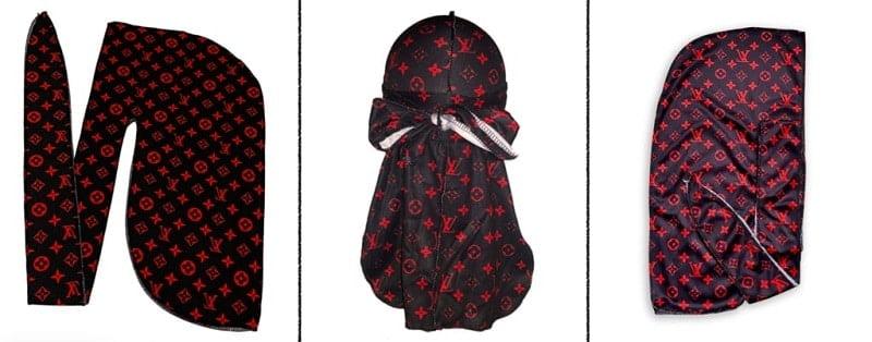 3 vues d'un durag Louis Vuitton Noir et Rouge